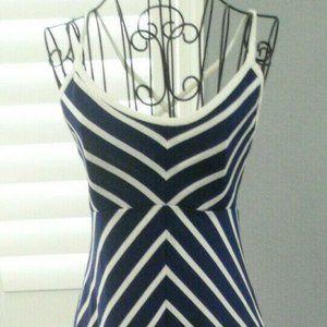 Vintage Blue White Chevron Stripe Maxi Sundress